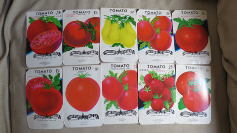 Garden Collectibles: Vintage Seed Package Set of 10 Vintage Tomato Seed Packs