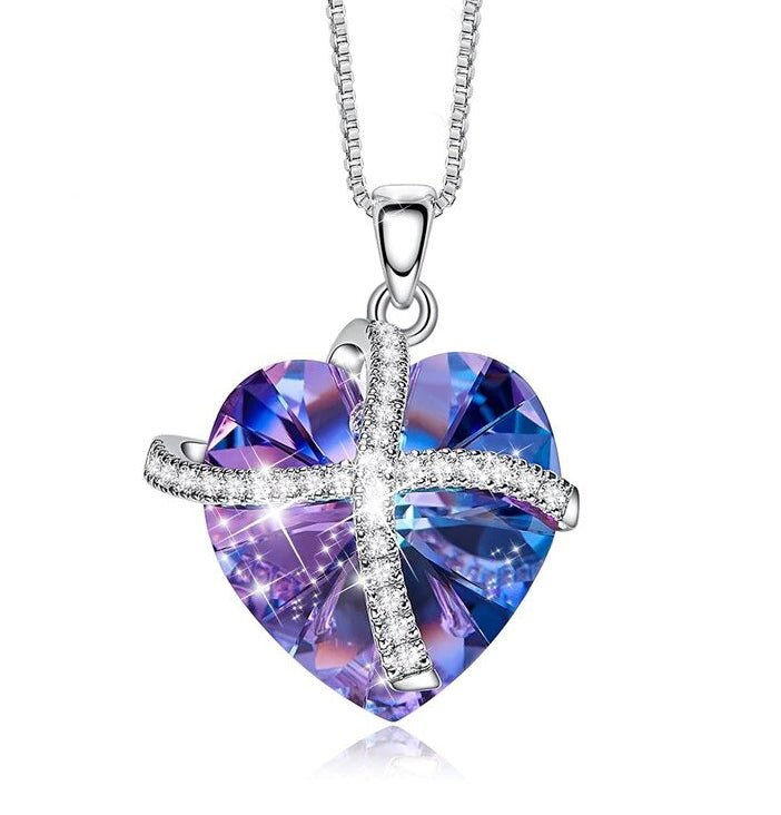 Swarovski Crystals Purple Passion Pave Heart Ribbon  Necklace