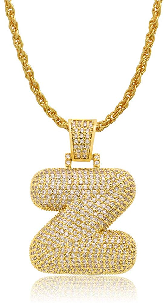 Diamond Created 18K Gold Plated Letter Pendant with Chain - Z