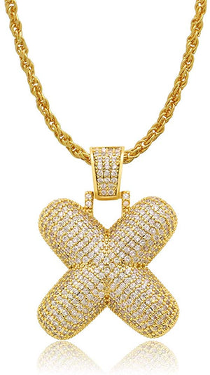 Diamond Created 18K Gold Filled Letter Pendant with Chain - X