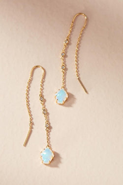 Delicate Drop Opal Stone Earrings - Golden NYC Jewelry www.goldennycjewelry.com fashion jewelry for women