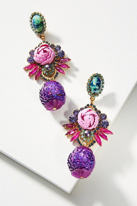 Garden of Flower Statement Earrings - Golden NYC Jewelry www.goldennycjewelry.com fashion jewelry for women