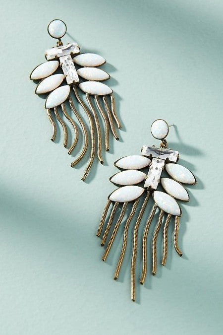 Opal Fire Tassel Drop Earrings - Golden NYC Jewelry www.goldennycjewelry.com fashion jewelry for women