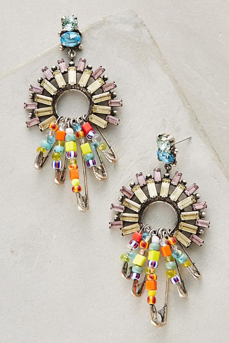 Rainbow Pin Layering Statement Earrings - Golden NYC Jewelry www.goldennycjewelry.com fashion jewelry for women