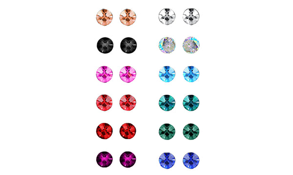 18K White Gold-Plated Birthstone Stud Earrings (12-Pair) - Golden NYC Jewelry www.goldennycjewelry.com fashion jewelry for women
