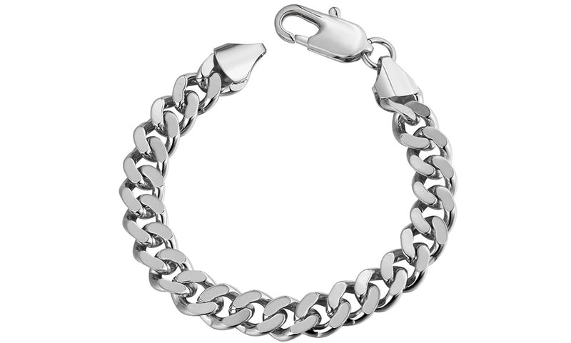 "Class Curb Bracelet in 7.5"" in 14K White Gold Plated, Bracelet, Golden NYC Jewelry, Golden NYC Jewelry  jewelryjewelry deals, swarovski crystal jewelry, groupon jewelry,, jewelry for mom,"