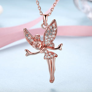 Swarovski Elements Pav'e Angel Pendant Necklace in 14K Rose Gold Plating