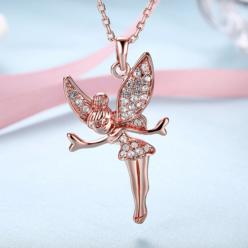 Austrian Elements Pav'e Angel Pendant Necklace in 14K Rose Gold Plating