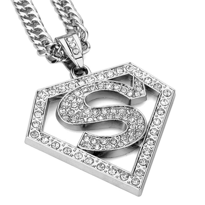 Icedout Diamond Created SUPERMAN in 18K White Gold Plated Necklace