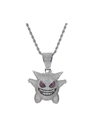 Pokemon 18K White Gold Plated Gengar Pendant Necklace with Diamond Cut Chain