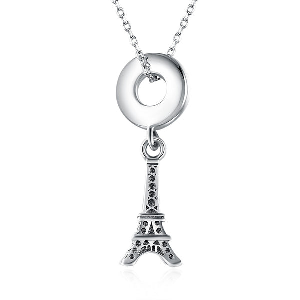 Sterling Silver Eifel Tower Charm Necklace