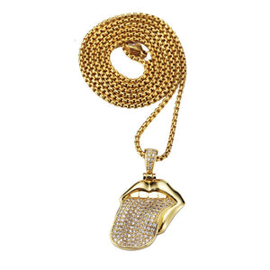 Iced out ROCK OUT TONGUE 18K Gold Plated Pendant Necklace