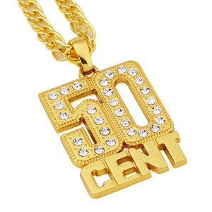Iced Out 50CENT Necklace in 18K White Gold Plated with Chain