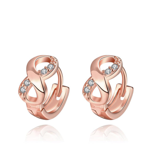 Infinity Huggies in Rose Gold, Earring, Golden NYC Jewelry, Golden NYC Jewelry fashion jewelry, cheap jewelry, jewelry for mom,