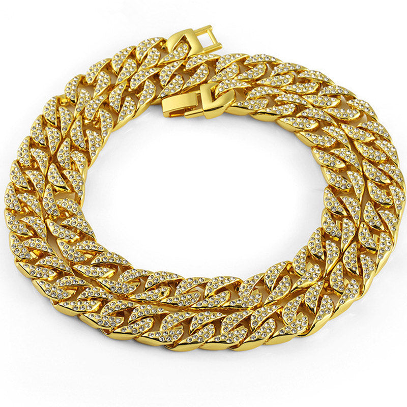 Diamond Cut Curb 18K Gold Filled Iced Out 14mm Chain