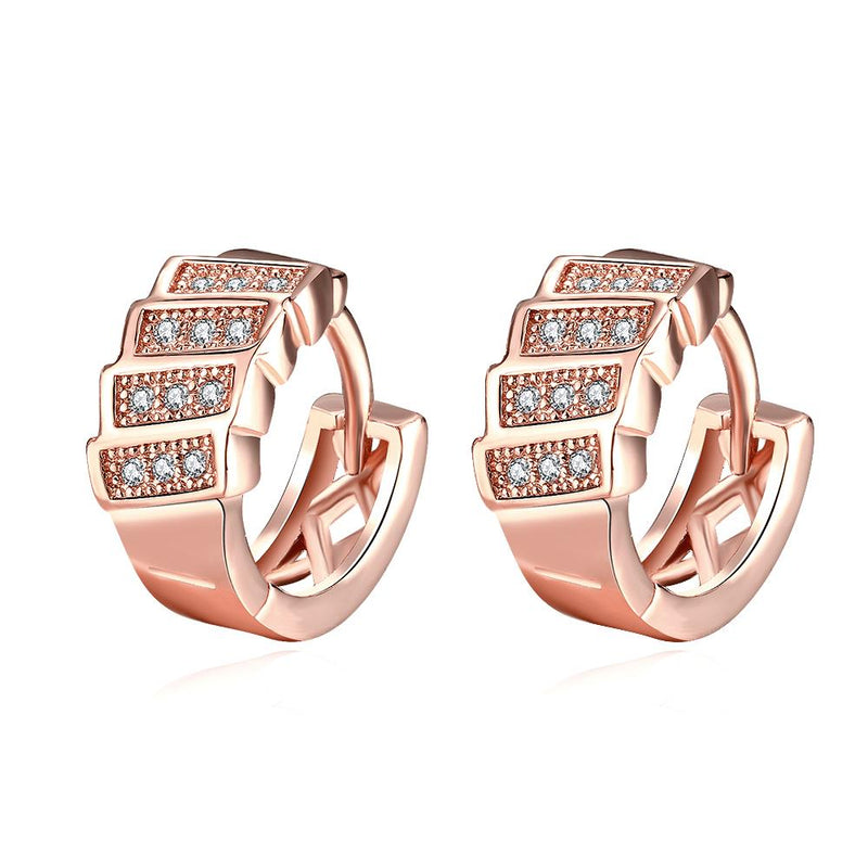 Stacked Huggie Earrings in Rose Gold - Golden NYC Jewelry Pandora Jewelry goldennycjewelry.com wholesale jewelry