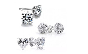 Crystal 3-Pack Stud Earrings Set Made With Swarovski Elements
