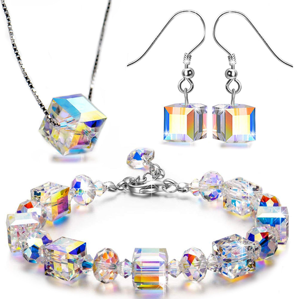 Aurora Borealis Magnificent Cube With Austrian Crystals - 3 Piece Set with Luxe Box