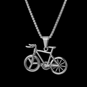 Crusin with my Bike Necklace in 18K White Gold Filled with Chain