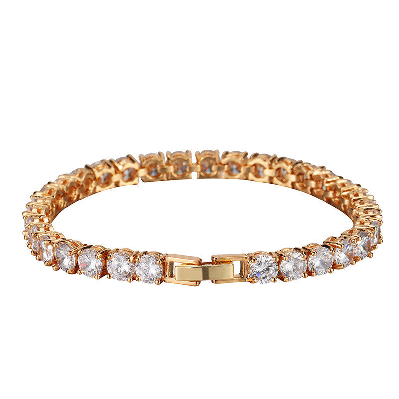 Iced Out 18K Gold Plated Tennis Bracelet 7.8