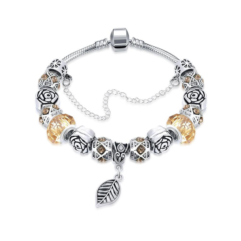 Petite Cream Soda Leaf Branch Pandora Inspired Bracelet, Bracelet, GoldenNYCJewelry, Golden NYC Jewelry fashion jewelry, cheap jewelry, jewelry for mom,