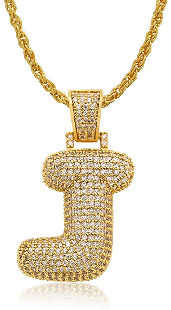 JDiamond Created 18K Gold Filled Letter Pendant with Chain - J