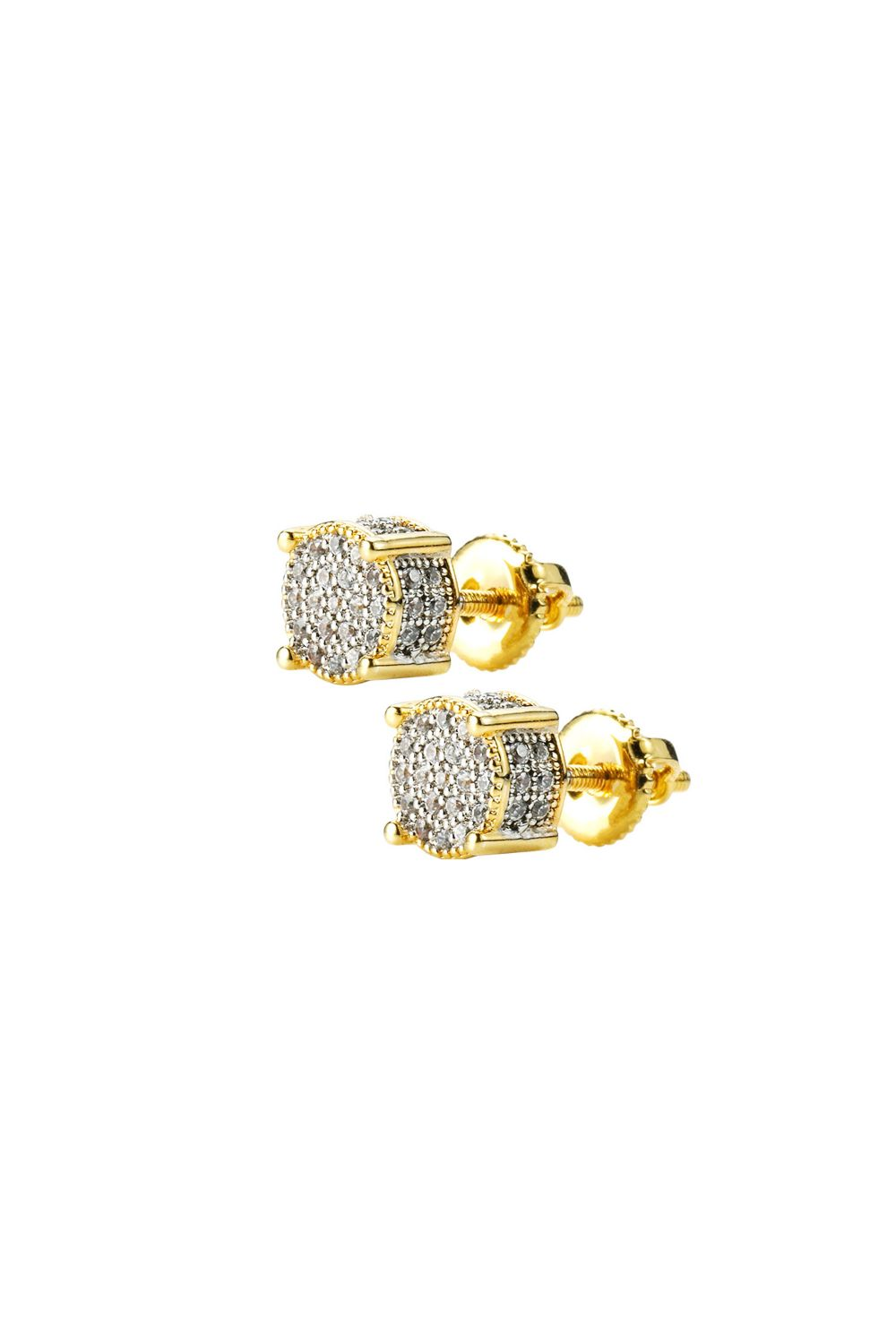 Iced Out Screwback 18K Gold Filled Round Cut Earring