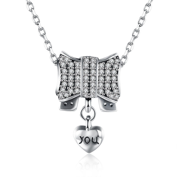 "Sterling Silver Tiffany Pave Bow ""Heart YOU"" Pendant Necklace"