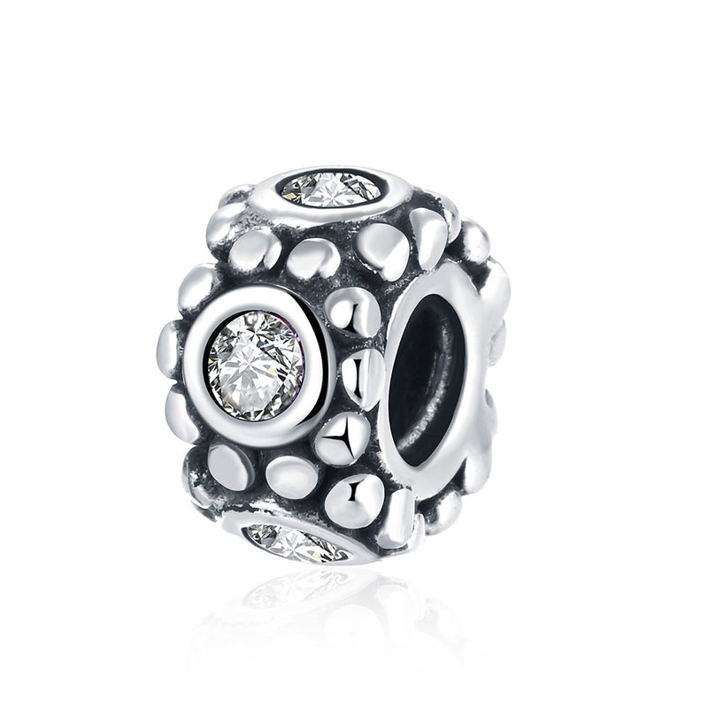 Sterling Silver CZ Crystal with Pave Stone Charm - Golden NYC Jewelry Pandora Jewelry goldennycjewelry.com wholesale jewelry