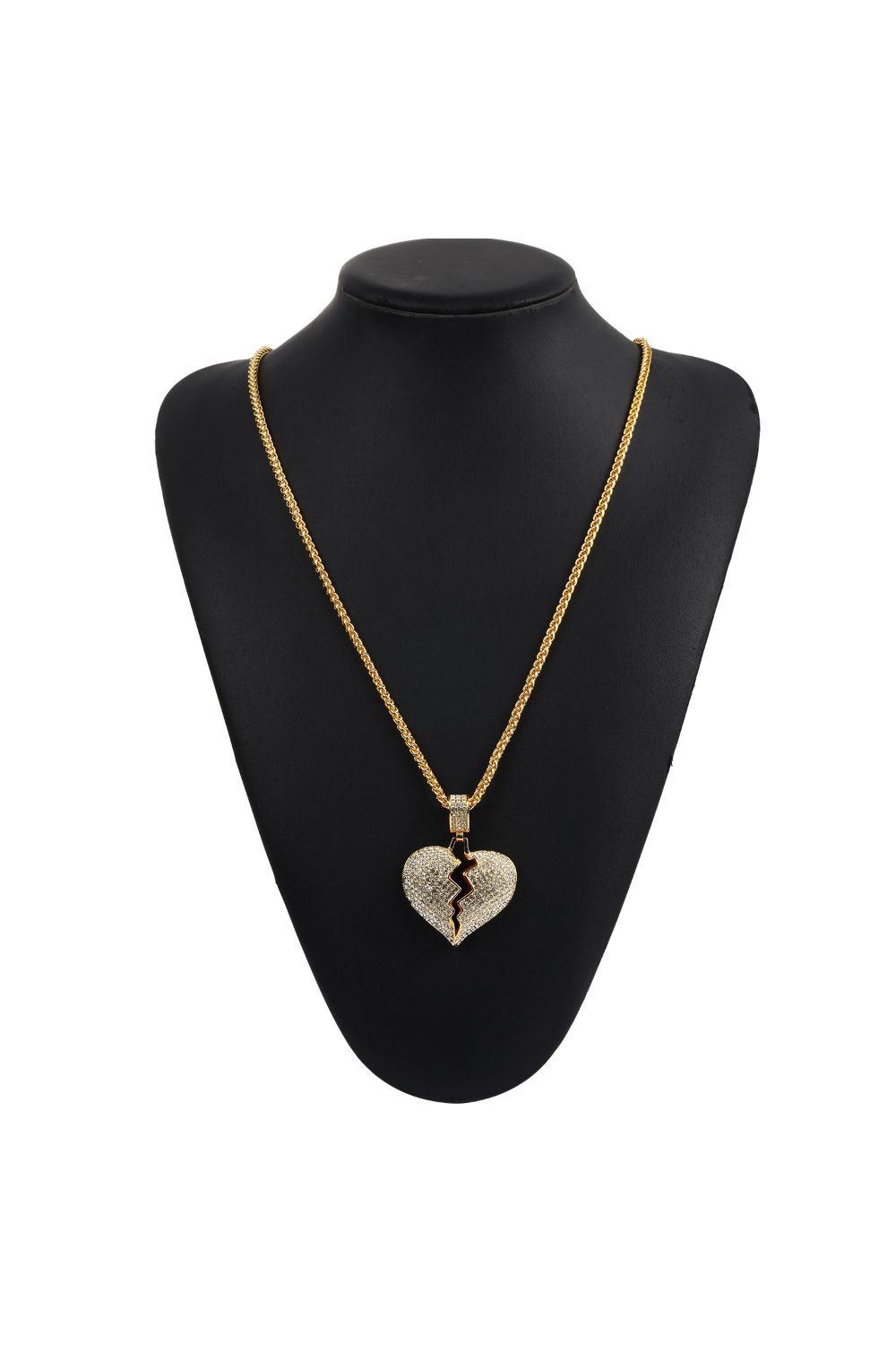 Iced Out Broken Heart Necklace in 18K Gold Filled with Chain