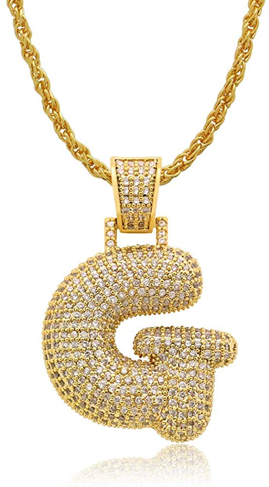 Diamond Created 18K Gold Filled Letter Pendant with Chain - G