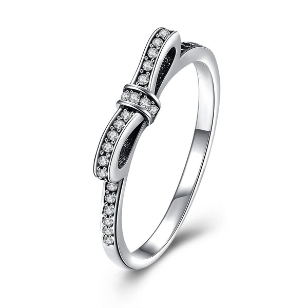 "Sterling Silver Pandora Inspired ""Pave Bow"" Ring"