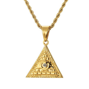 Egyptian Pyramid Necklace in 18K Gold Filled with Diamond Cut Chain