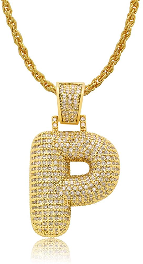 Diamond Created 18K Gold Plated Letter Pendant with Chain - P