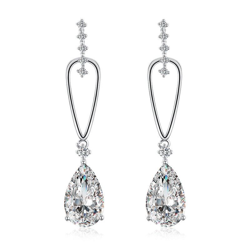 Pear Shaped Swarovski Crystal Dangling Earrings Set in 18K White Gold, Earring, Golden NYC Jewelry, Golden NYC Jewelry fashion jewelry, cheap jewelry, jewelry for mom,