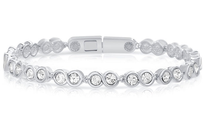 Infinity Tennis Bracelet made with Swarovski Crystals - Golden NYC Jewelry www.goldennycjewelry.com fashion jewelry for women