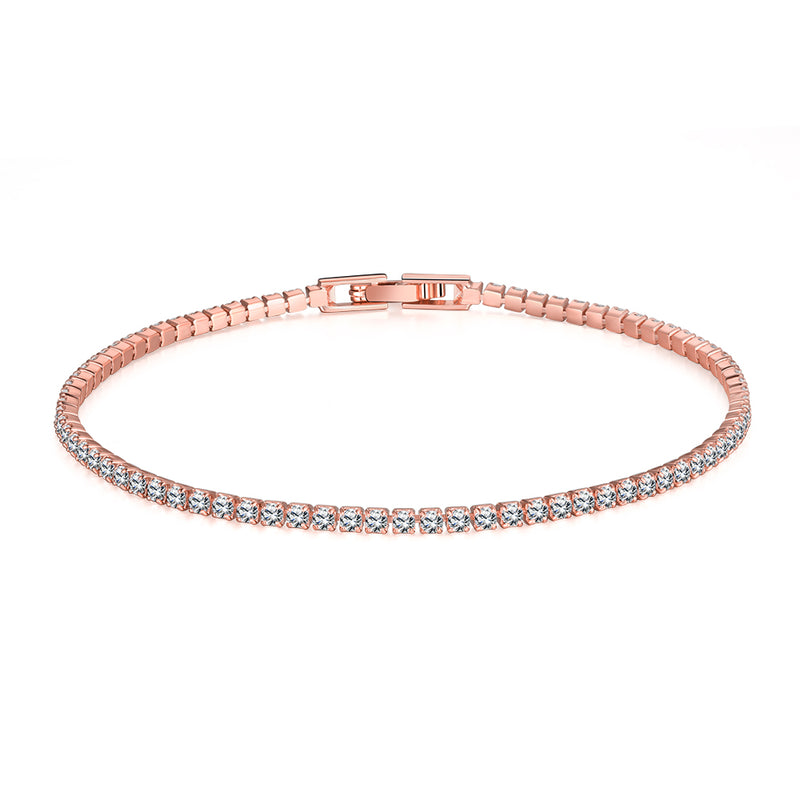 6.00 CT White Topaz Swarovski Crystal 3mm Classic Round Tennis Bracelet - Rose Gold, Bracelet, Golden NYC Jewelry, Golden NYC Jewelry  jewelryjewelry deals, swarovski crystal jewelry, groupon jewelry,, jewelry for mom,