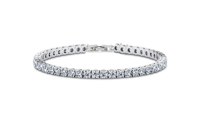 6.00 CT White Topaz Swarovski Crystal 3mm Classic Round Tennis Bracelet - Silver, Bracelet, Golden NYC Jewelry, Golden NYC Jewelry  jewelryjewelry deals, swarovski crystal jewelry, groupon jewelry,, jewelry for mom,