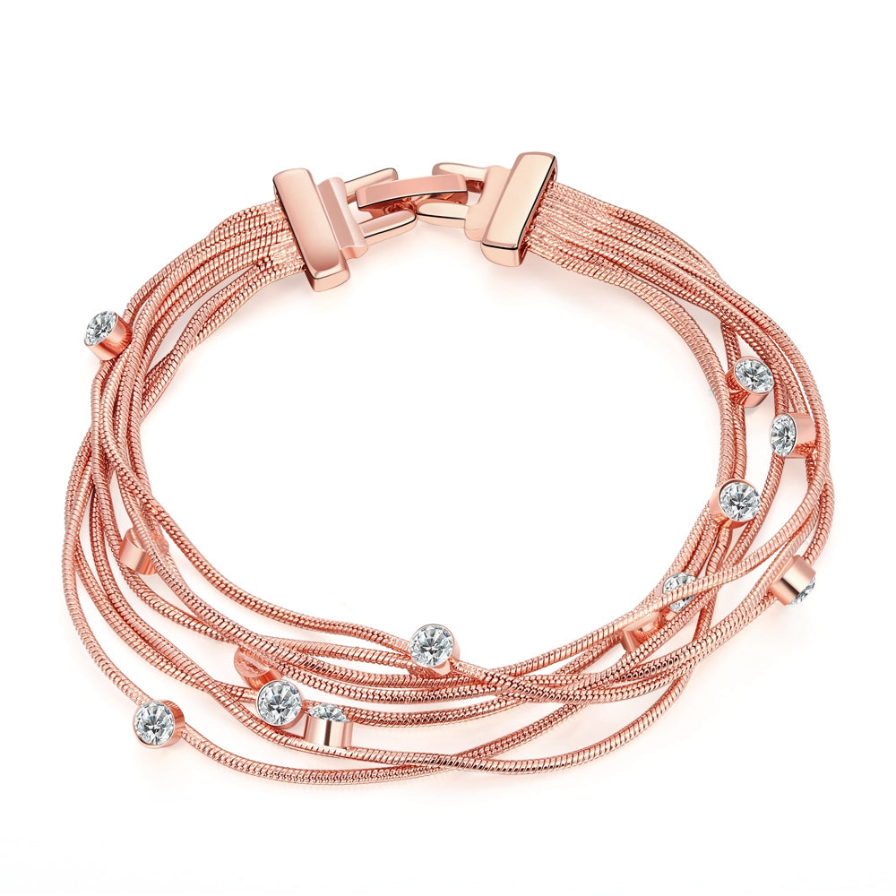 Multi-Strands Swarovski Elements Bracelet in 14K Rose Gold
