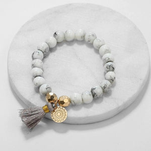 Marble Filligree Tassel Stretch 4PC Bracelet