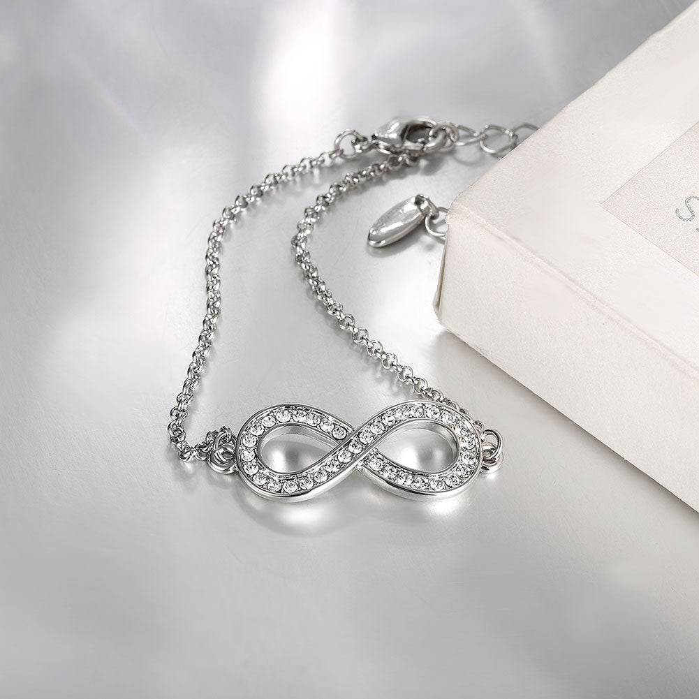 Infinity Pendant Bracelet with Austrian Elements in 14K White  Gold