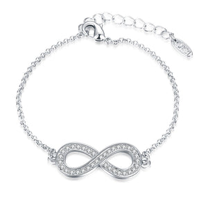 Infinity Pendant Bracelet with Swarovski Elements in 14K White  Gold