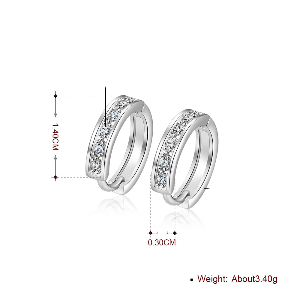 Swarovski Crystal Pave Huggie Earring in 18K White Gold Plated