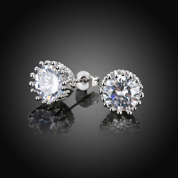 Royal Crown Swarovski Crystal Stud Earrings - Golden NYC Jewelry www.goldennycjewelry.com fashion jewelry for women