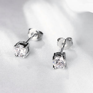 Swarovski Crystal Stud Earring in 14K White Gold Plated 6mm