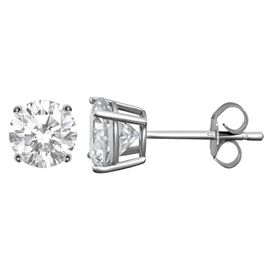 Austrian Crystal Stud Earring in 14K White Gold Plated 6mm