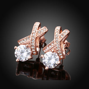 Swarovski Crystal X Cross Stud Earring in 18K Rose Gold Plated