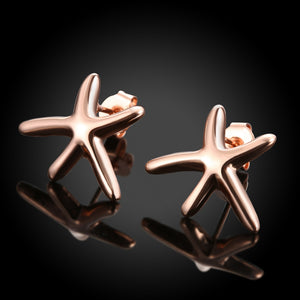 Starfish Stud Earring in 18K Rose Gold Plated