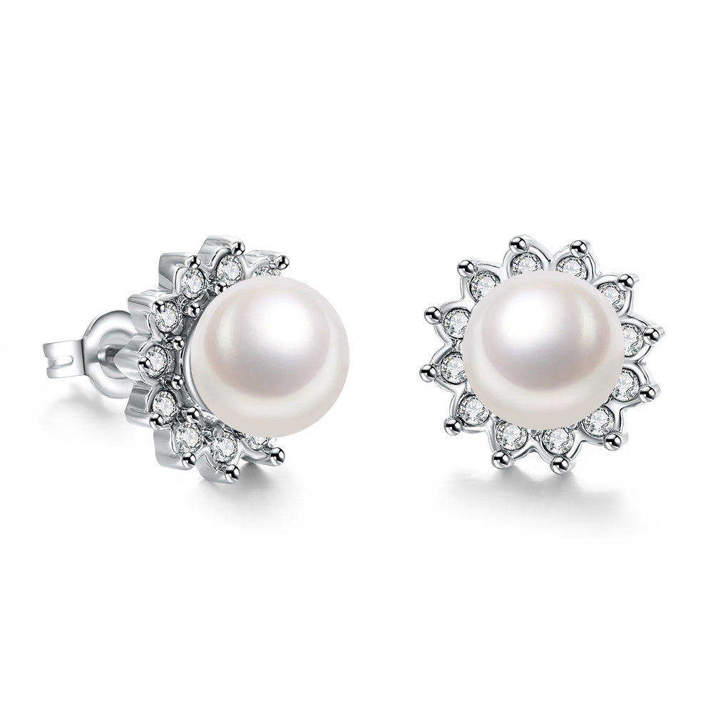 Swarovski Crystal Pearl Stud Earring in 18K White Gold Plated