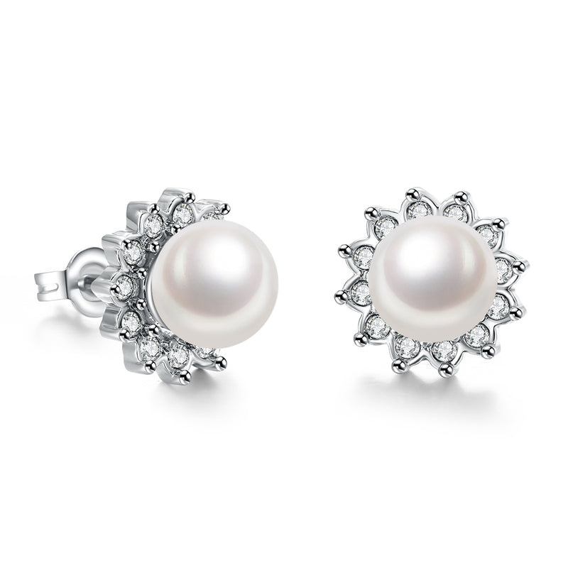 Austrian Crystal Pearl Stud Earring in 18K White Gold Plated